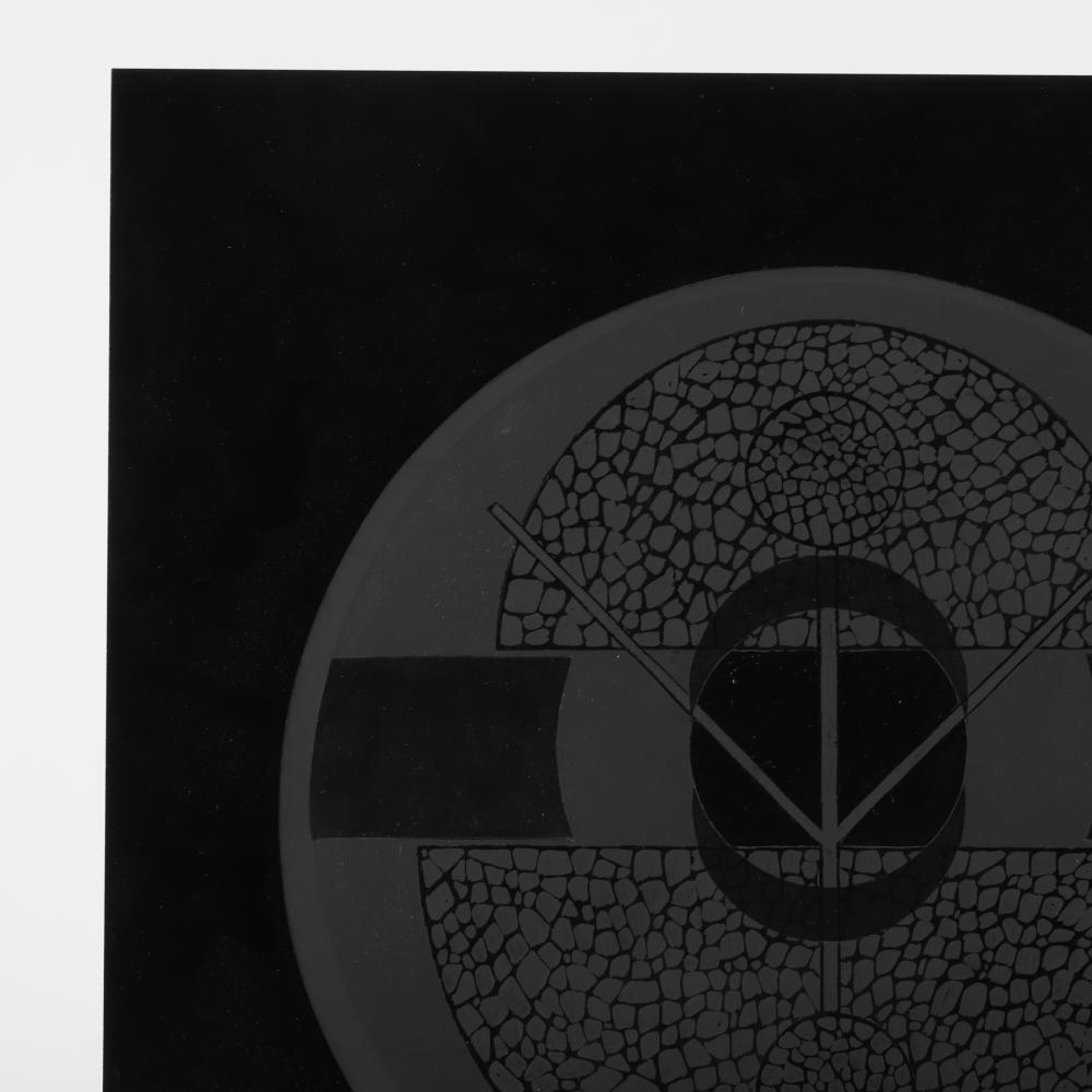 "Jimmy Ernst, (1920-1984), Black Disc #3, 1969, oil on plexiglass mounted to black acrylic panel., 20""H x 20""W."