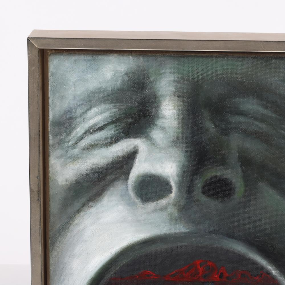 """Max Ernst, (German, 1891-1976), attributed, Big Mouth, oil on canvas, 13 1/4"""" x 11 1/4"""" (sight), 14 3/4"""" x 13"""" (frame)."""