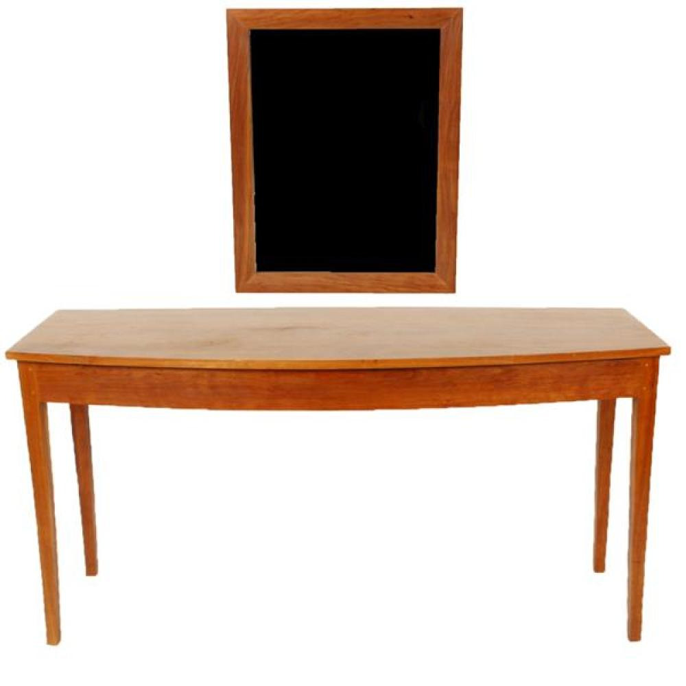 "Thos. Moser Handmade American Furniture, Maine; cabinet made Shaker style bowfront console entry table and mirror in cherry hardwood. Table; 28H""H x 54""W x 20""deepest. Mirror; 32"" x 24""."