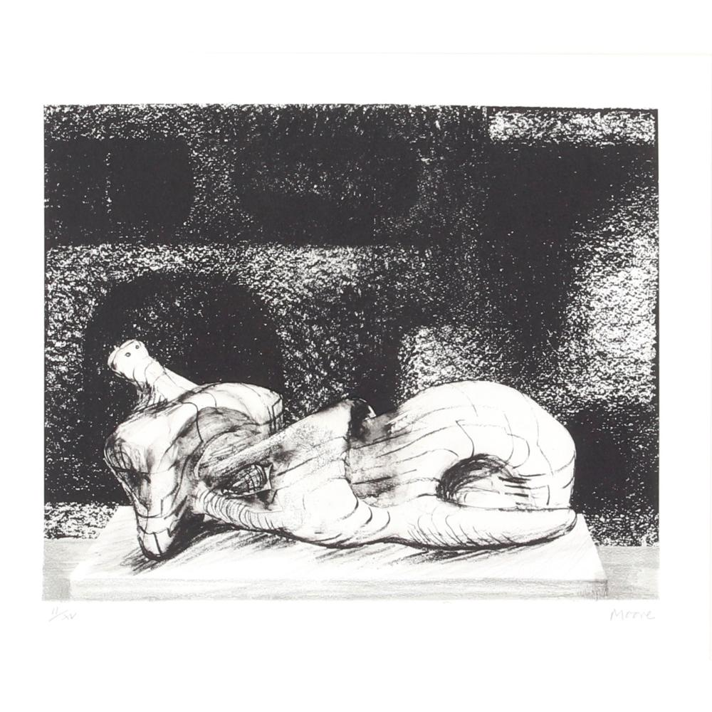 """Henry Spencer Moore, (UK, 1898-1986), Reclining Figure With Architectural Background III, 1977, lithograph, Image: 9 1/2"""" x 11 7/8"""". Frame: 20"""" x 21 3/4""""."""