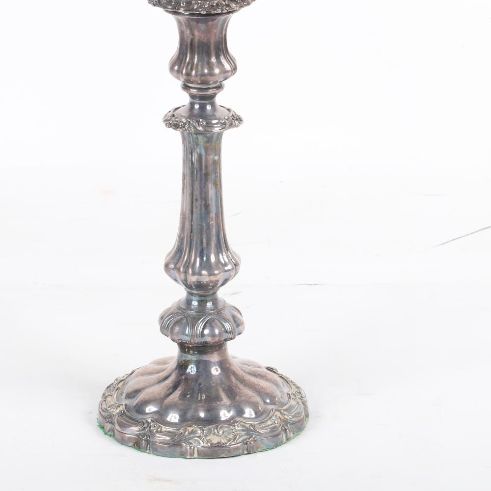 """Pair Thomas Creswick old English Georgian Sheffield silver 3-light candelabra with acanthus, shell and scroll borders, c.1820. 20""""H x 16""""W."""