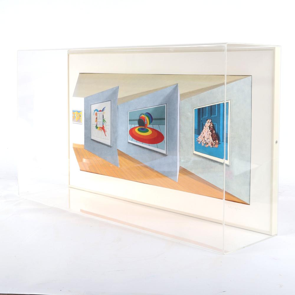 """Patrick Hughes, (British, b.1939), Retrospective, 2000, hand-painted 3D multiple with archival inkjet encased in plexi glass, 16"""" x 30"""" x 6""""."""