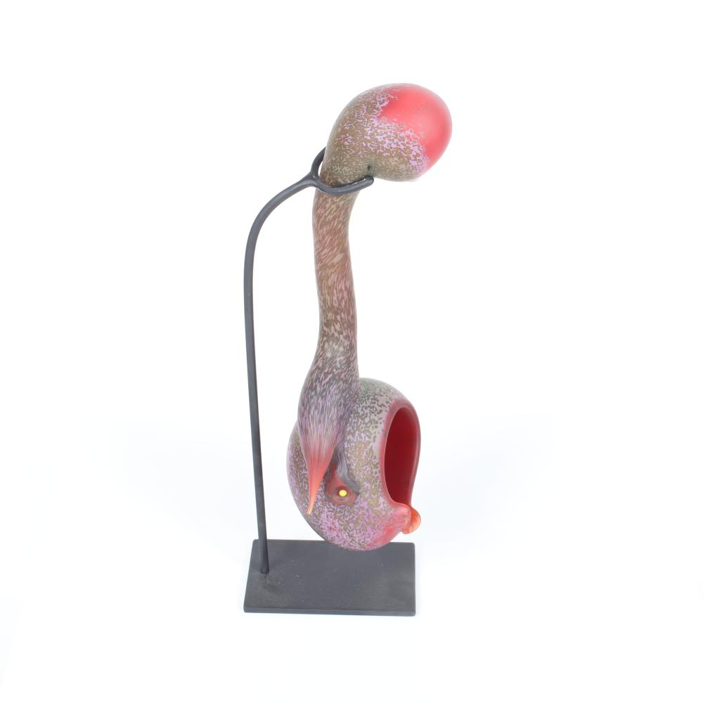 "Paul Nelson, (American, 21st Century), Bird Vessel #1, 2005, blown and hot sculpted glass with custom steel stand, 15""H x 7""W x 5""D. This excludes the armature."