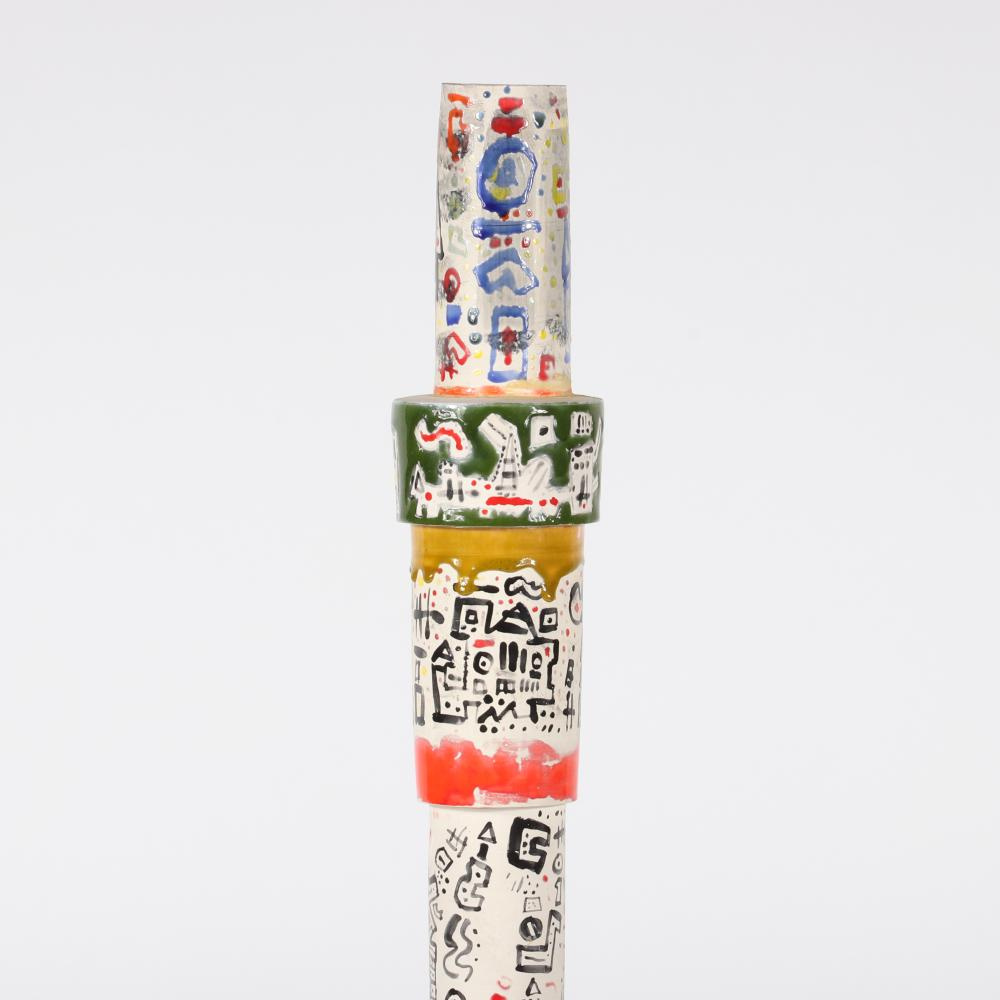 "Ynez Johnston, (American, b.1920), totem tower, hand painted glazed ceramic, 33 1/2""H X 5 3/4""W."