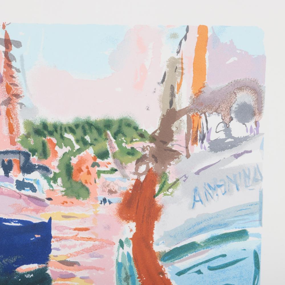 "Nell Blair Walden Blaine, (New York / Massachusetts, 1922-1996), ""Fishing Boats"", lithograph, 11 1/2""H x 15 1/2""W (plate), 18""H x 21 1/4""W (paper)."