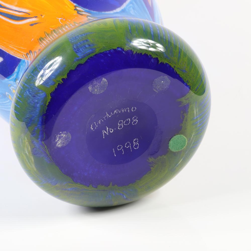 Kathleen Hargrave and Robert Spielholz., (American, 20th/21st Century), Andiamo Art Glass Studio Vase, 1998, blown glass, 14 1/2 inches in height, and 8 inches in diameter at the top.