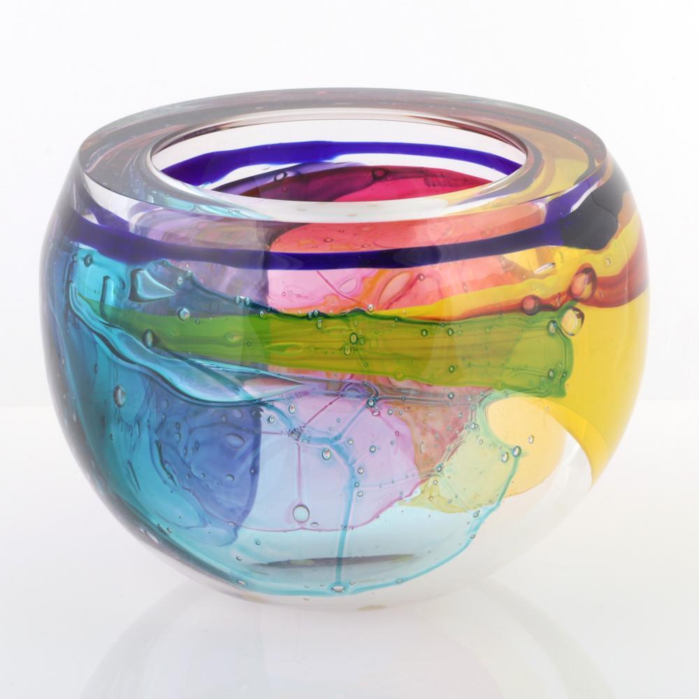"Leon Applebaum, (American, b.1945), Lava Bowl, hand blown glass, 6 1/2""H x 8 1/4"" diameter."