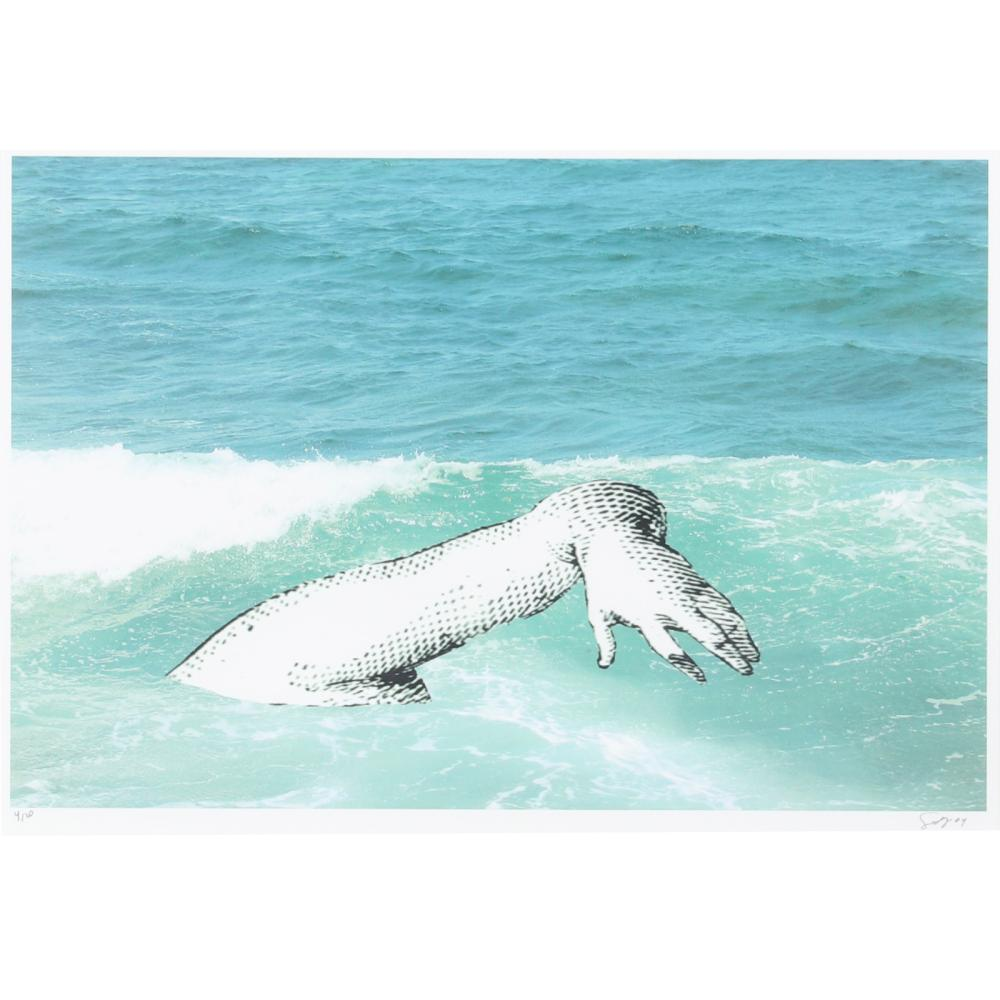 """Sandra Ramos Lorenzo, (Cuban, b.1969), Without title from the series: Mar de los Lamentos, Brazo, 2004, digital photographic print with collage, 15 1/2""""H x 23 1/2""""W (image), 22 1/2""""H x 30""""W (frame)."""