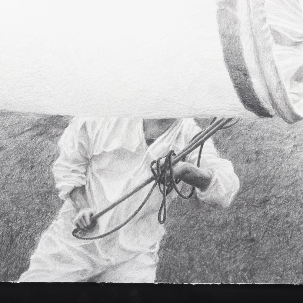 "Ethan Murrow, (American, b.1975), Reversing Extinction III, graphite on paper, 48'H X 48""W (image), 48""H x 48""W (frame)."