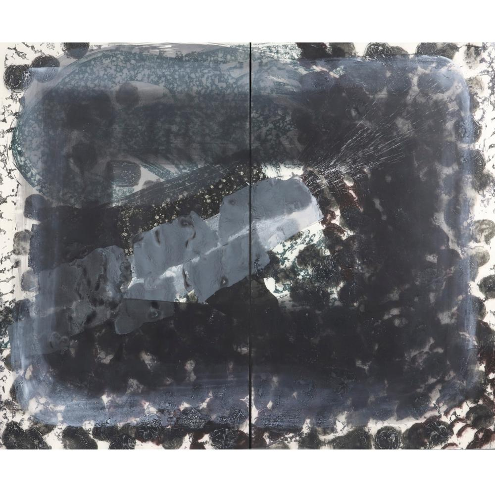 """Howard Hodgkin, (British, 1932-2017), Venice, Night, 1995, large scale etching and aquatint diptych printed from 5 plates, 62""""H x 38 1/4""""W, of each sheet, total of 77""""W."""