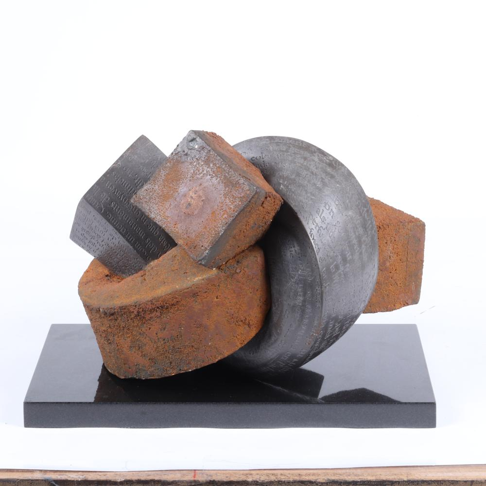 """Lluis Cera, (Spanish, b.1967), Forced Itinerary, calatorao stone and iron sculpture on black granite plinth with literary carving in Italian prose in the stone, 12 1/4""""H x 15 1/2""""W x 12 3/4""""D, all excluding the black ..."""