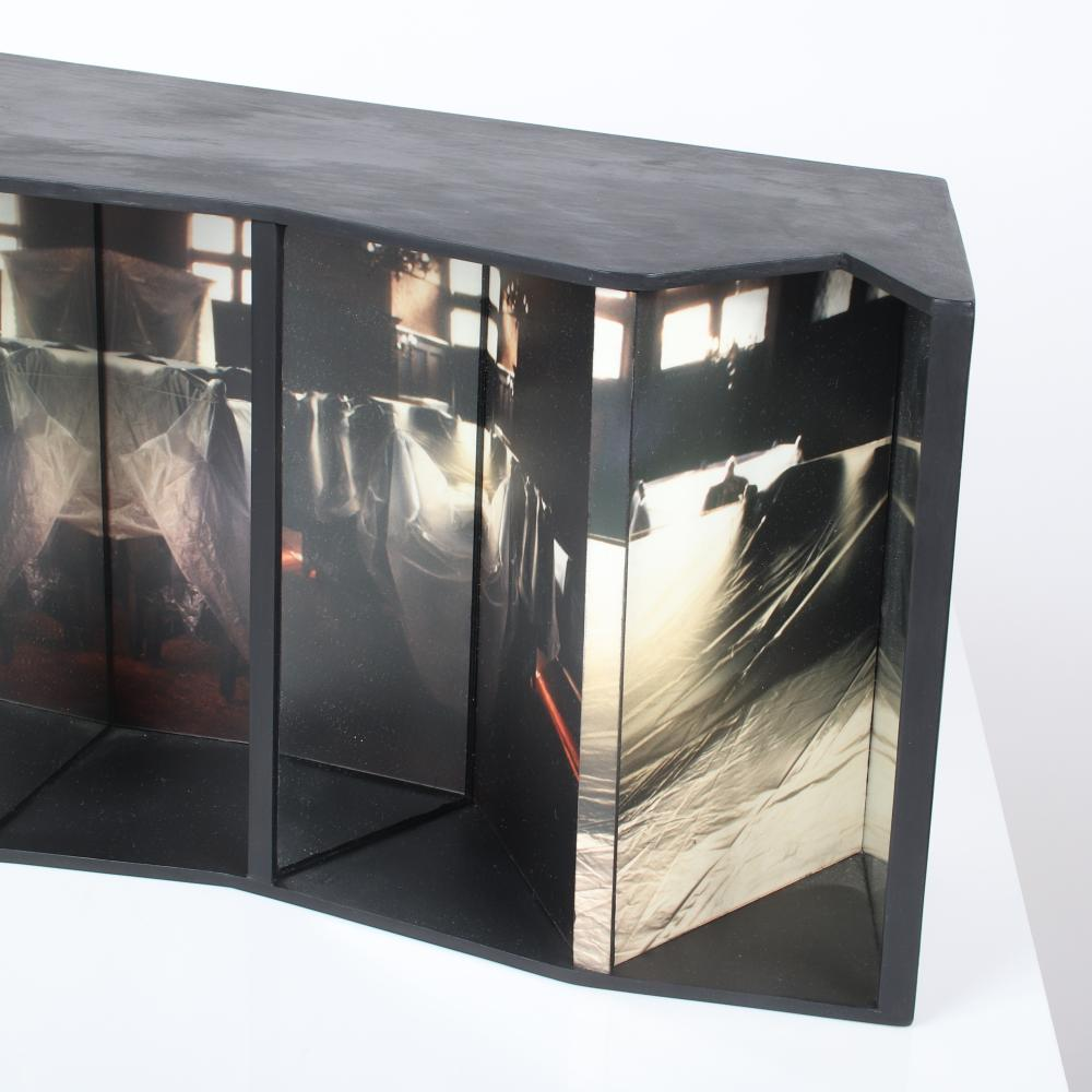 """Susan Leopold, (American, b.1960), Time and Time, 2000, photography, mirrors, painted wood, 8 1/2"""" x 16"""" x 8 1/2""""."""