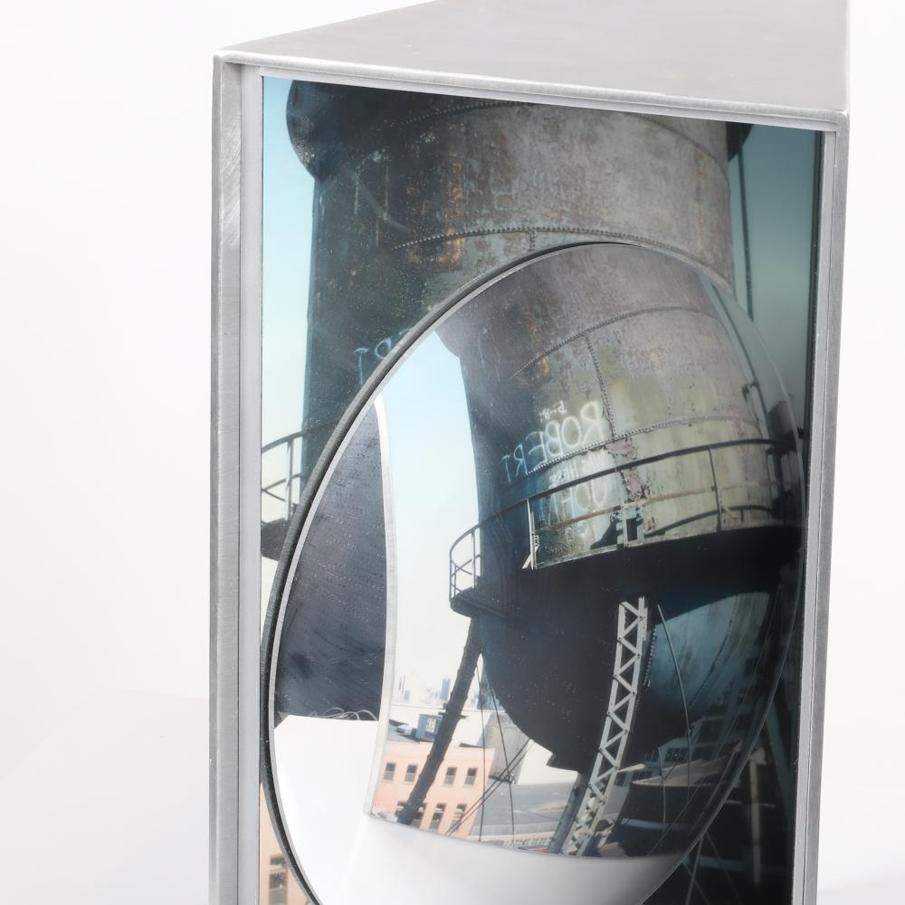 "Susan Leopold, (American, b.1960), Outlook, photography, mirror, painted wood, 17"" x 13"" x 9""."