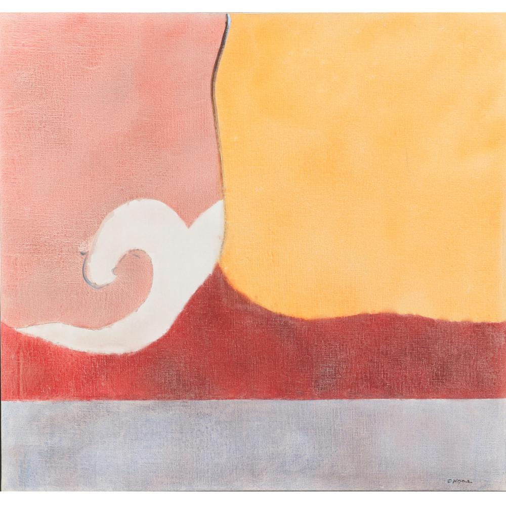 """Elsie B. Driggs, (American, 1898-1992), White Wave, ca.1960, oil on canvas, 34""""H x 36""""W (image), 36 3/4""""H x 38 1/4""""W (frame)."""