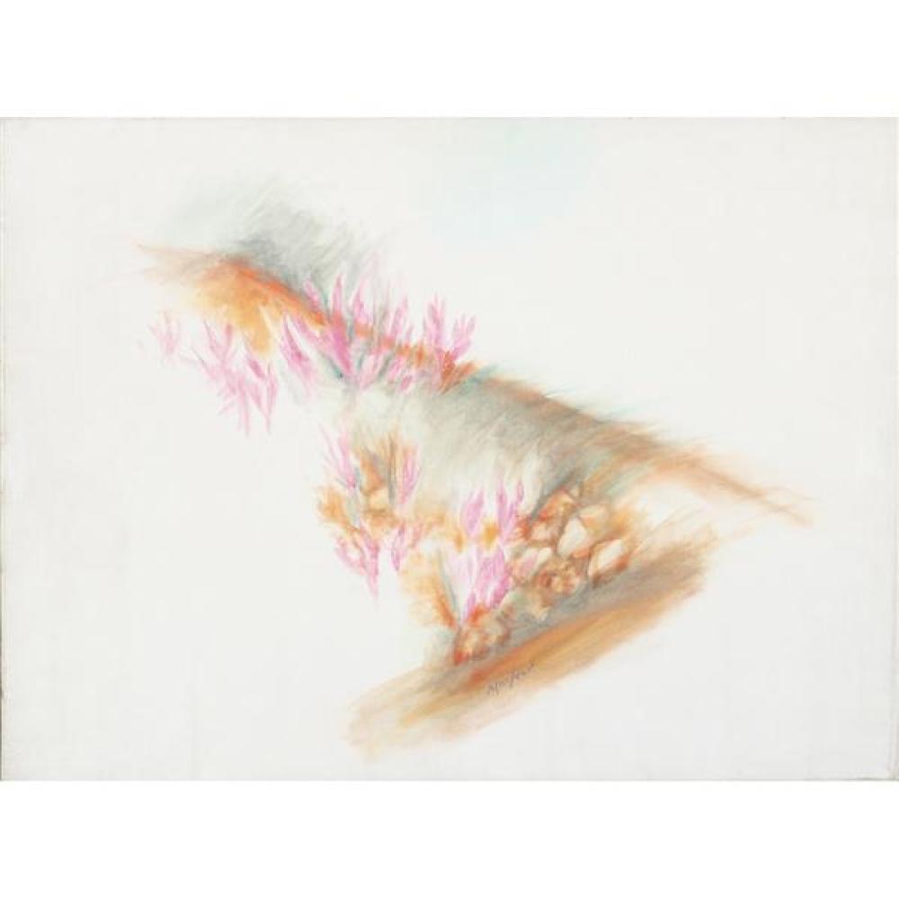"Loren MacIver, (New York / Massachusetts, 1909-1998), Cyclamen, 1960s, oil on canvas, 21""H x 28 1/2""W (sight), 22 3/4""H x 30 1/4""W (frame)."