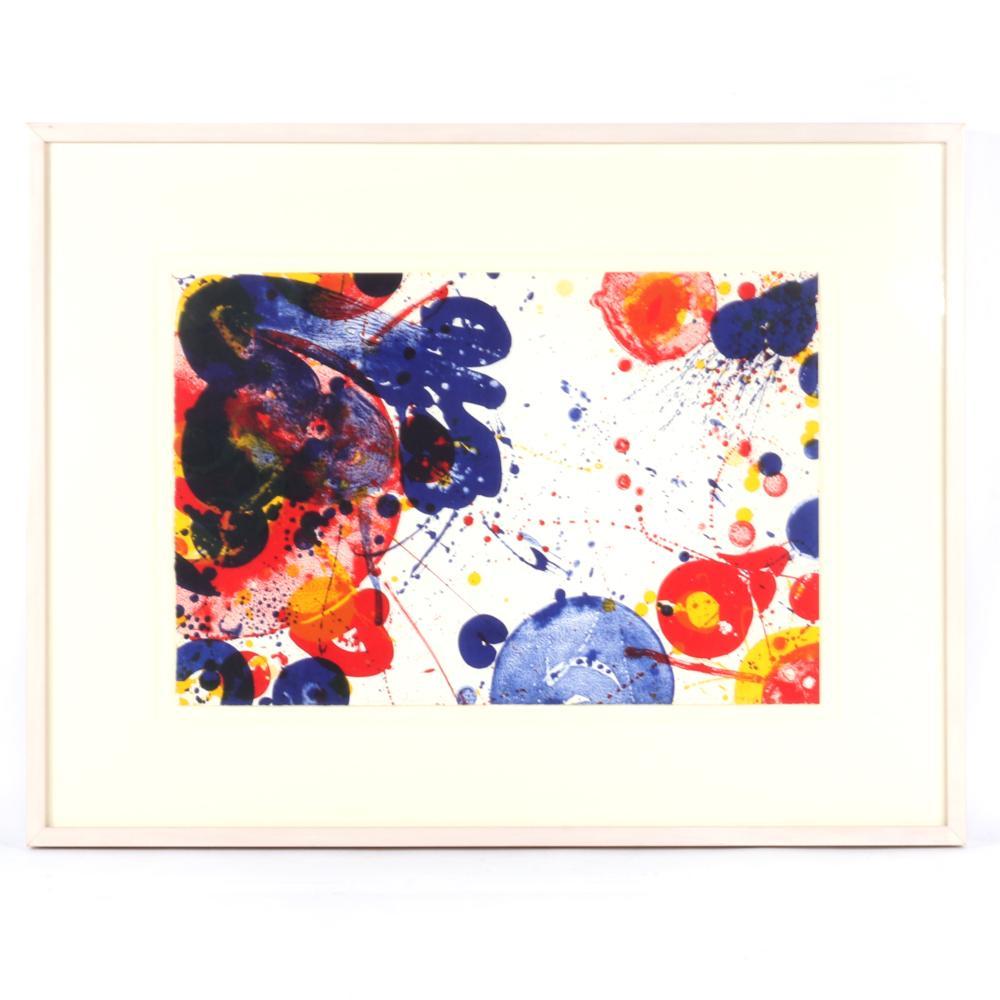 "Sam Francis, (American, 1923-1994), Untitled (Jubilee), lithograph, 1964, 15""H x 22 1/4""W (sheet), 25""H x 32 1/4""W (frame)."