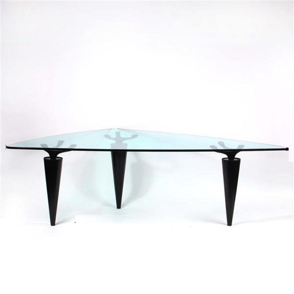 "Cassina 'Oscar' triangular tri-leg glass top table designed 1991 by Isao Hosoe (Japanese, 1942-2015). 73""H x 95 3/4""W."