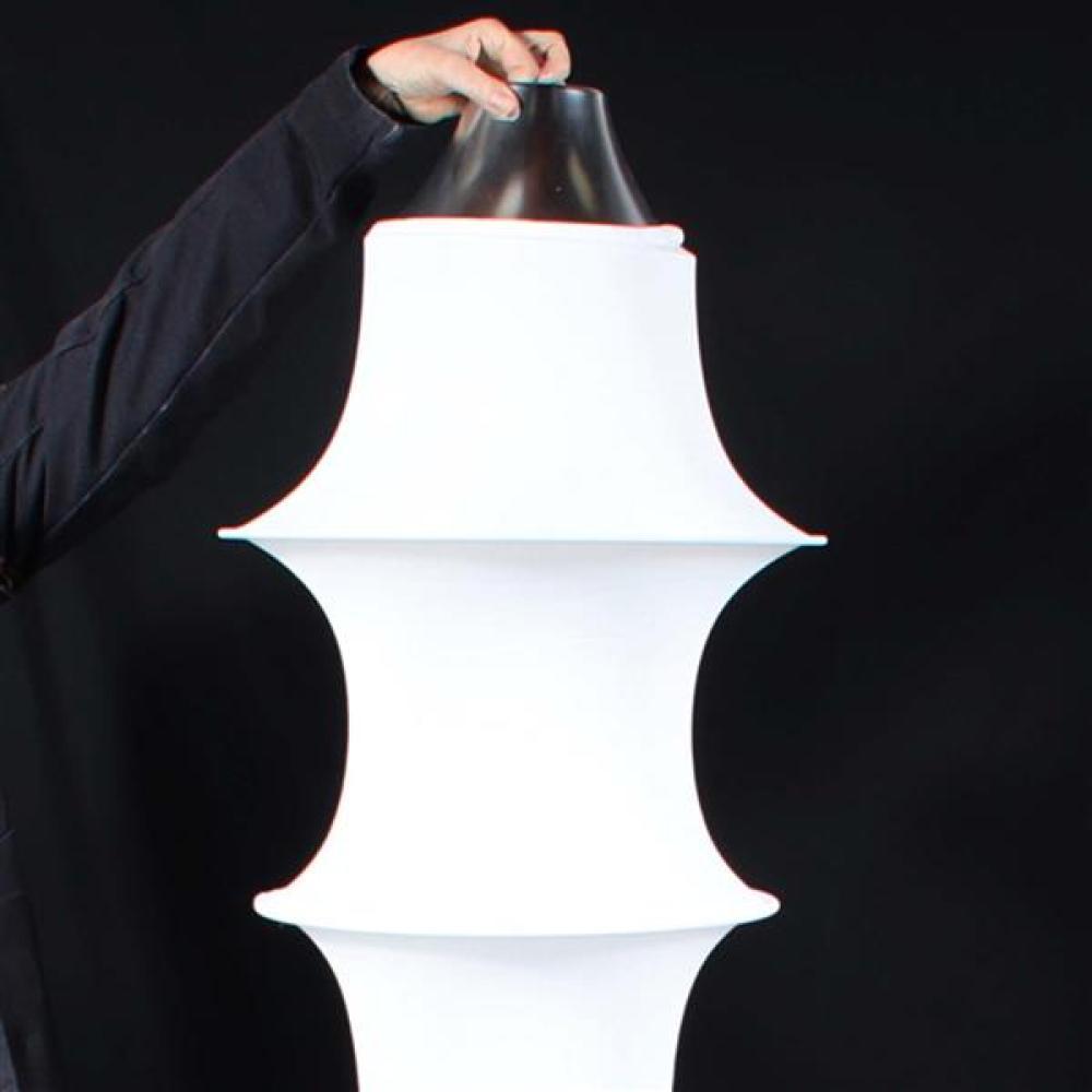 "Danese Milano 'Falkland' sculptural suspension lamp designed by Bruno Munari 1964. 62""H x 16""Diam (one)."