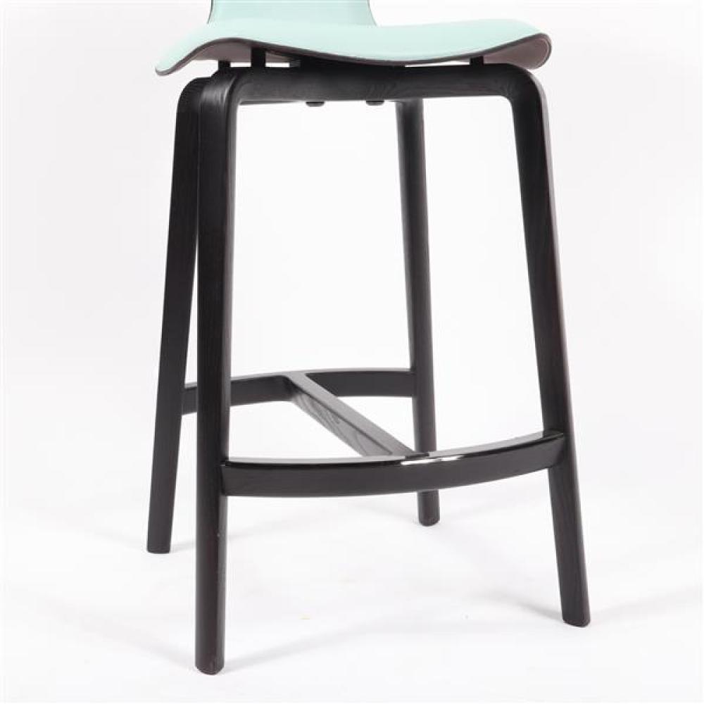 "Pair Poltrona Frau 'Montera' bar stools designed by Roberto Lazzeroni. 41""H x 19""W x 19""D."