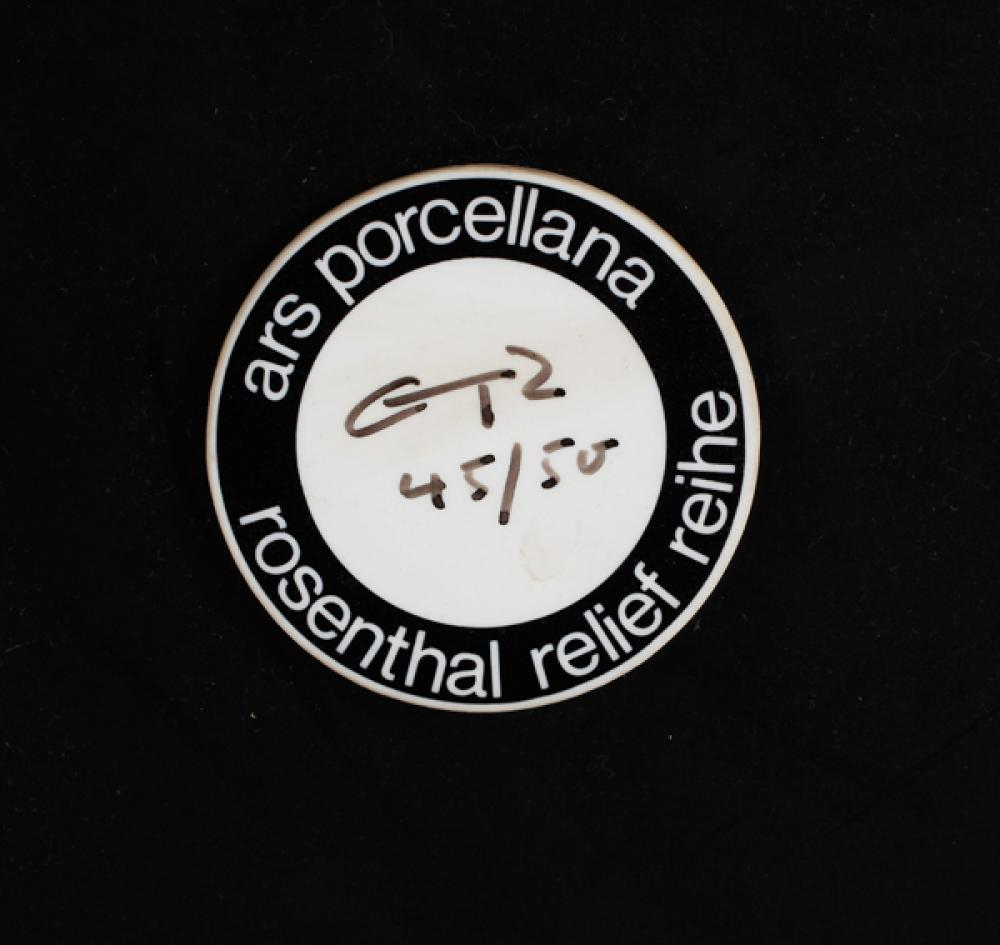 "Gunter Ferdinand Ris bas relief; Rosenthal, Germany, 1968; Approx. 45 1/2""dia."
