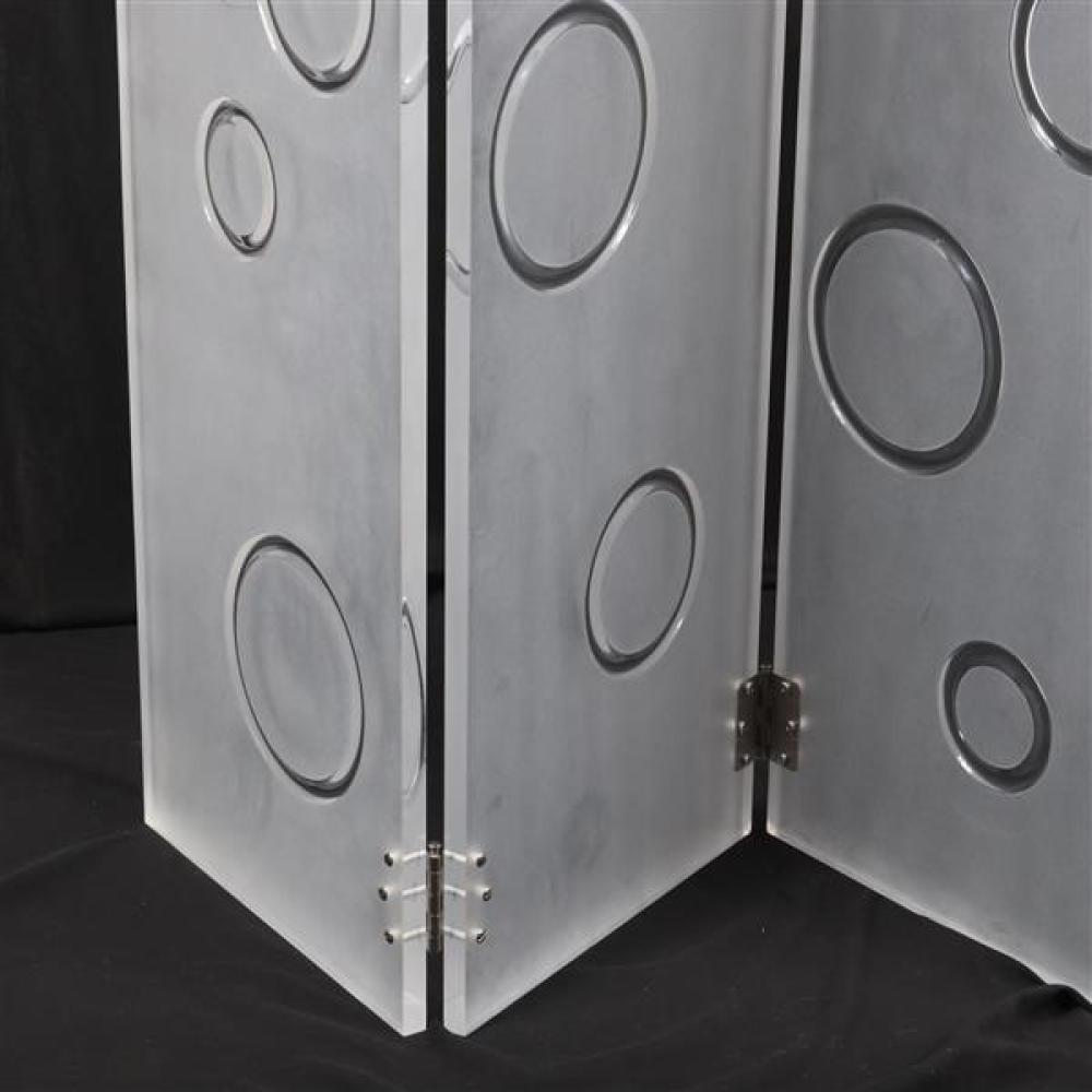 "Vintage modern MCM four panel frosted clear lucite room divider screen with random polished inset circle motif. 72""H x 18""W (one panel)."