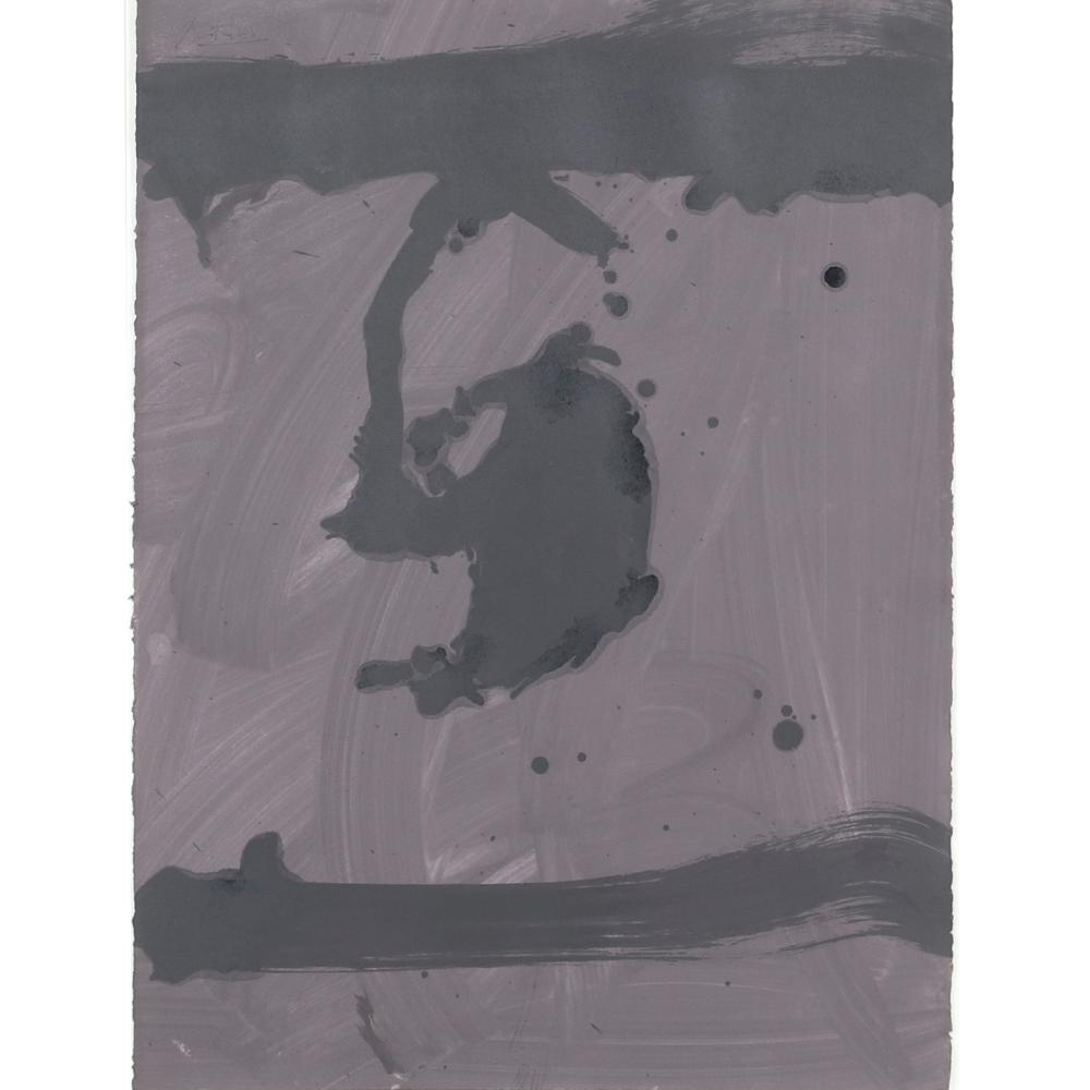 "Robert Motherwell, (American, 1915-1991), Untitled 1975, acrylic on paper Monotype, 30"" x 22 1/4"" (image), 41 1/2"" x 33 1/2"" (frame)."