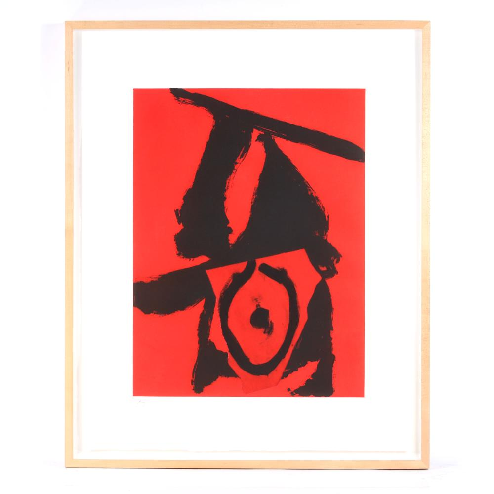 """Robert Motherwell, (American, 1915-1991), The Red Queen, 1989, aquatint, etching, and collage from an edition of 40, 31"""" x 25"""" (sight), 34 1/2"""" x 28"""" (frame)."""