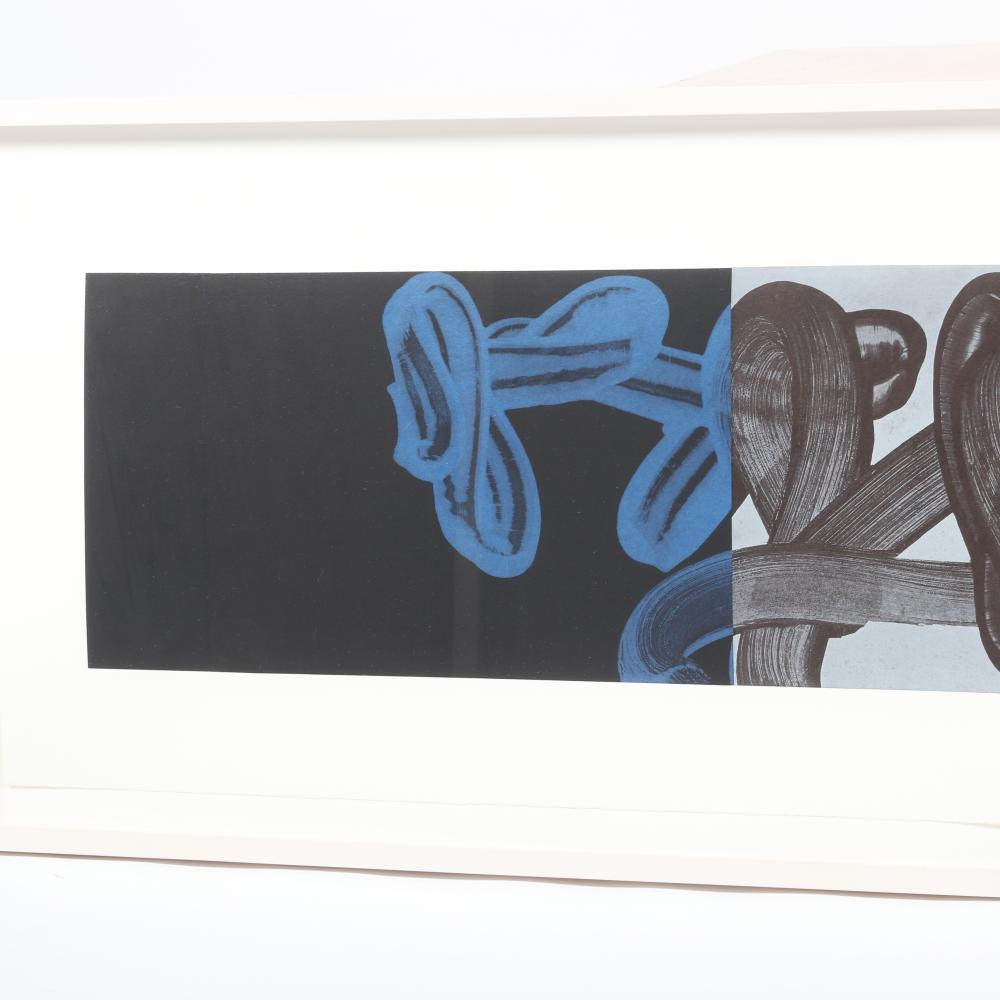 """David Fredrick Reed, (American, b.1946), Untitled #2 (LP40), whiteground aquatint etching with chine colle'., 11 1/2 """"H x 58""""W (image), 22 1/2""""H x 67 3/4"""" (frame)."""
