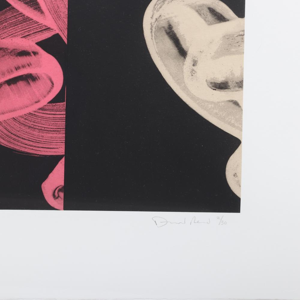 """David Fredrick Reed, (American, b.1946), Untitled #3 (LP42), whiteground aquatint etching with chine colle'., 11 1/2 """"H x 58""""W (image), 22 1/2""""H x 67 3/4""""W (frame)."""