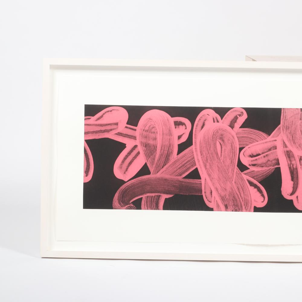 """David Fredrick Reed, (American, b.1946), Untitled #4 (LP41), whiteground aquatint etching with chine colle'., 11 1/2 """"H x 58""""W, (image), 22 1/4""""H x 68""""W (frame)."""