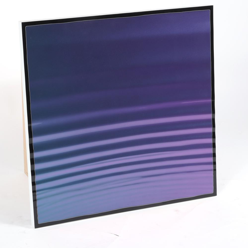 """Steve Hough, (British, 21st Century), Harness, 2004, color-shifting urethane on hand-carved plexiglass panel, 29 3/4""""H x 29 3/4""""W."""