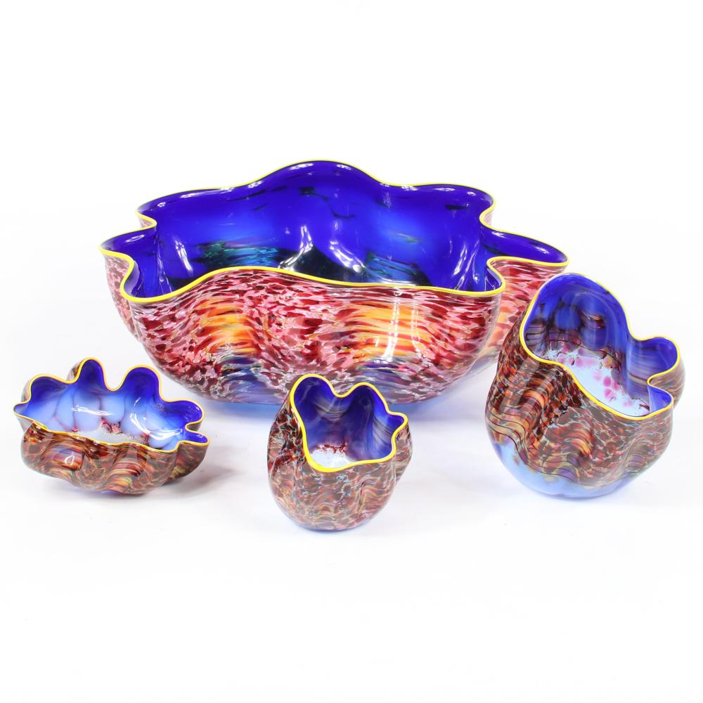 "Dale Patrick Chihuly, (American, b.1941), ""Niagra Blue Pheasant Macchia Set."", blown glass 4pc. seaforms, 6""H x 14 1/2""W x 11 1/4""D, of the largest piece."