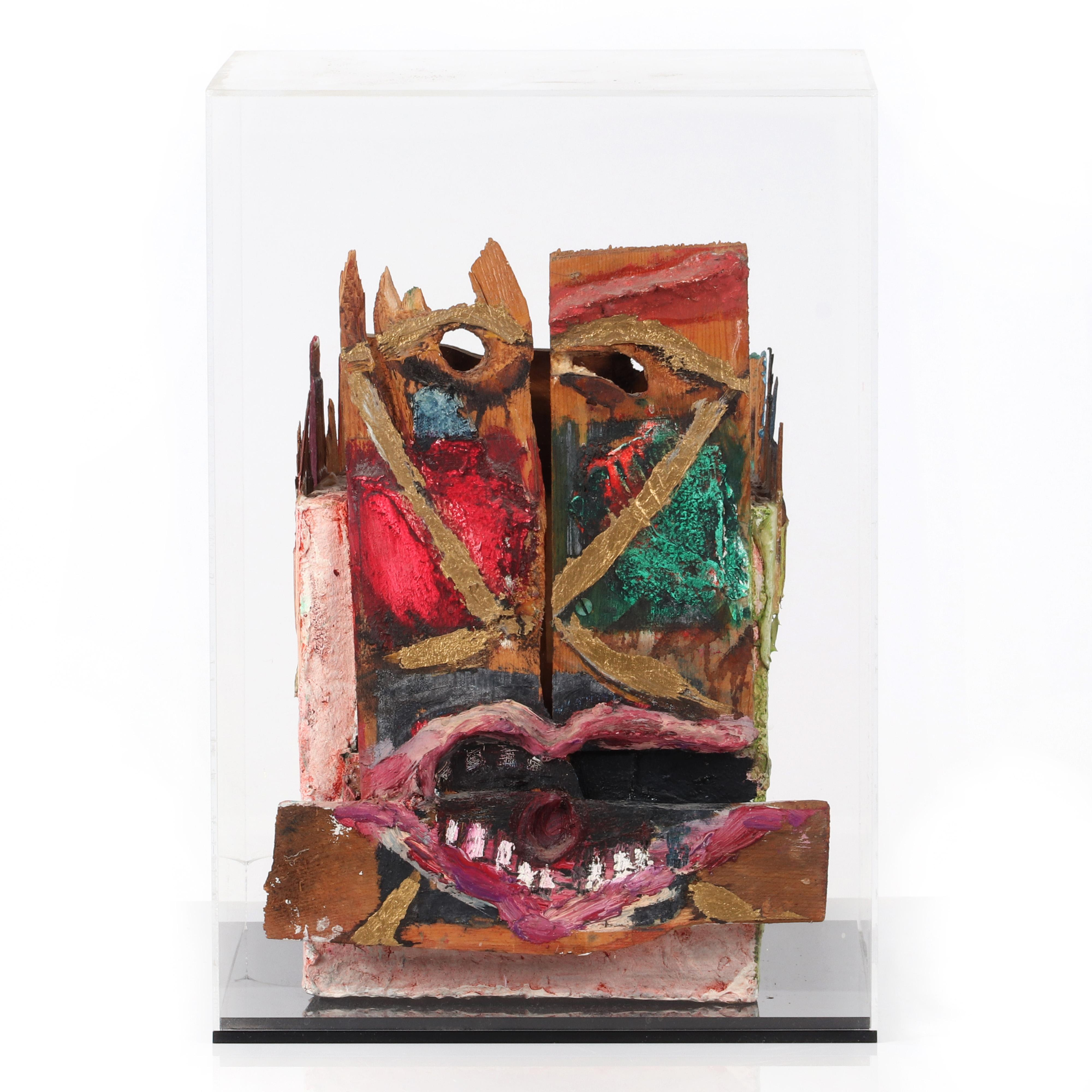 """Joan Snyder, (American, b.1943), abstract bust, sculpture for the New Museum, 1981, mixed media, found wood and cardboard, 14""""H x 10""""W x 11""""D (without acrylic box)."""