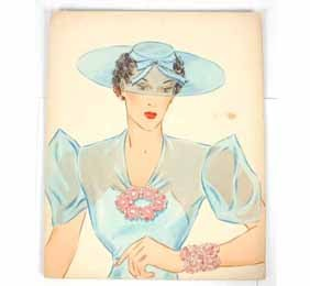 Miriam Haskell Illustration Lt Blue Pink Jewelry