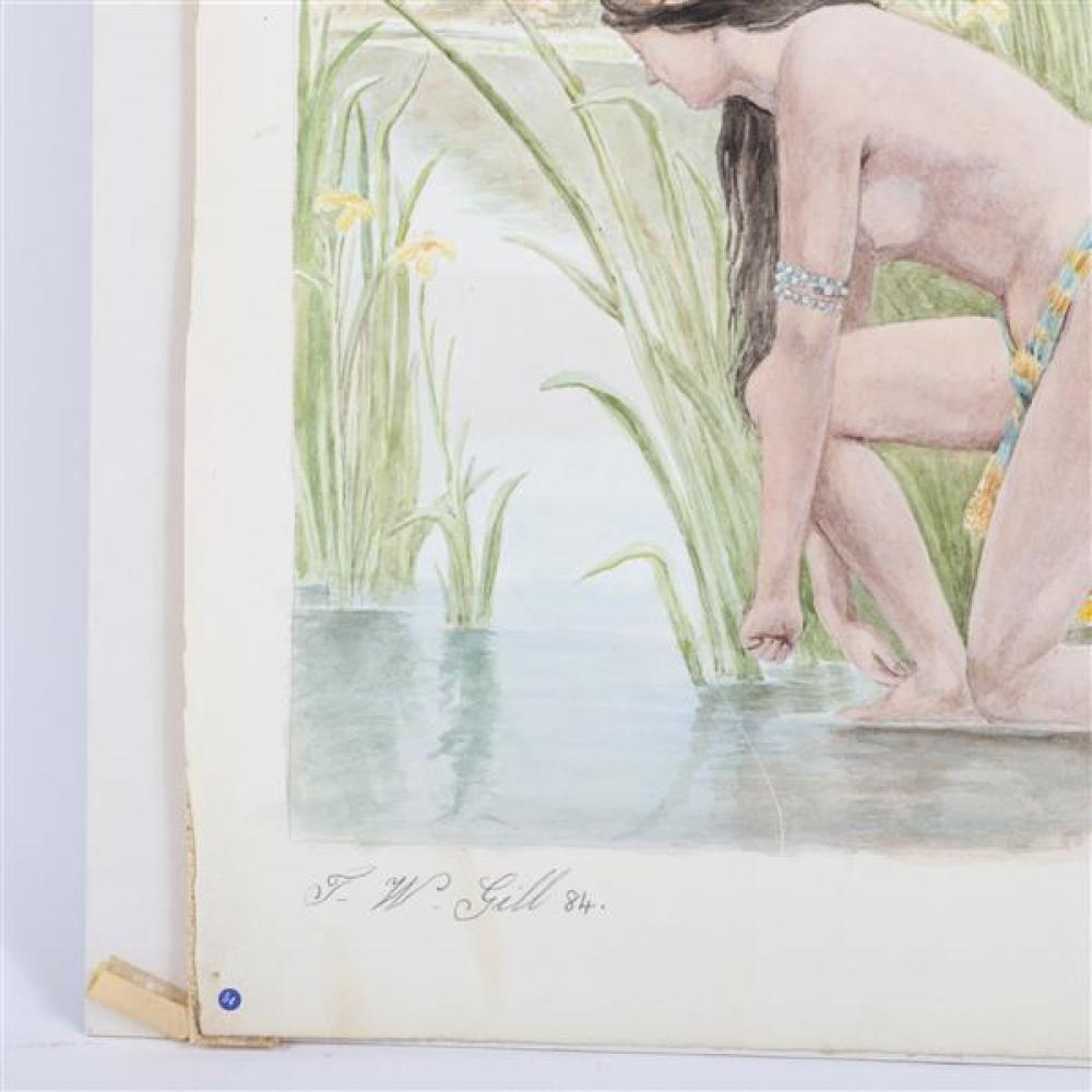 """T.W. Gill, 20th Century, Two female nude bathers in the reeds, Pre Raphaelite style scene painting, watercolor on paper, 18""""H x 12 1/2""""W (image), 24 1/2""""W x 19""""H (frame)"""