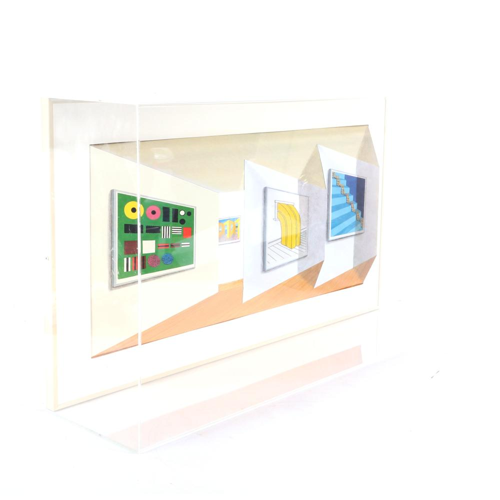 "Patrick Hughes, (British, b.1939), Retrospective, 2000, hand-painted 3D multiple with archival inkjet encased in plexi glass, 16"" x 30"" x 6""."