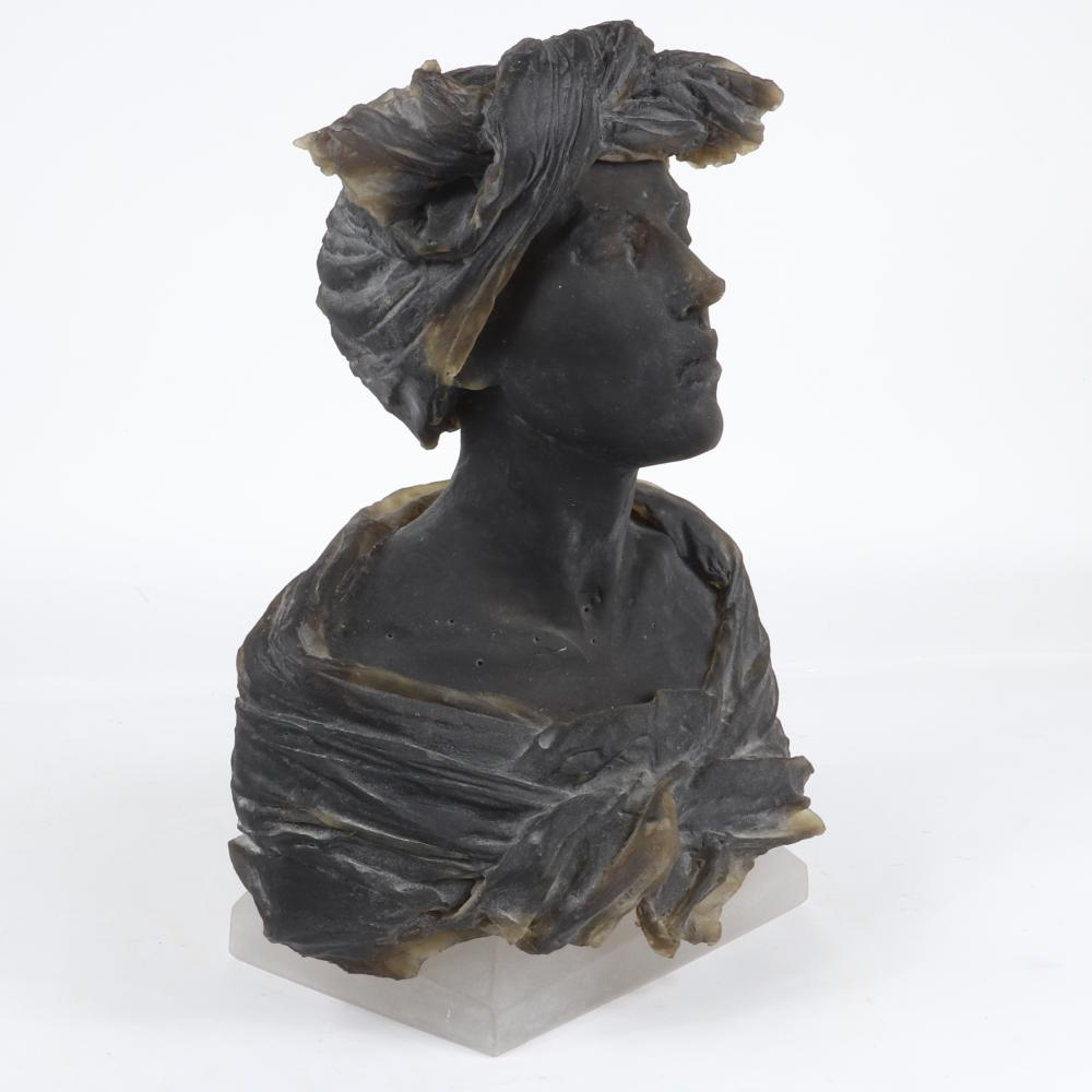 "Nicolas Africano, (American, b.1948), Untitled 2008, (Female Bust, crystal base), cast and carved glass, 21"" x 16"" x 10""."