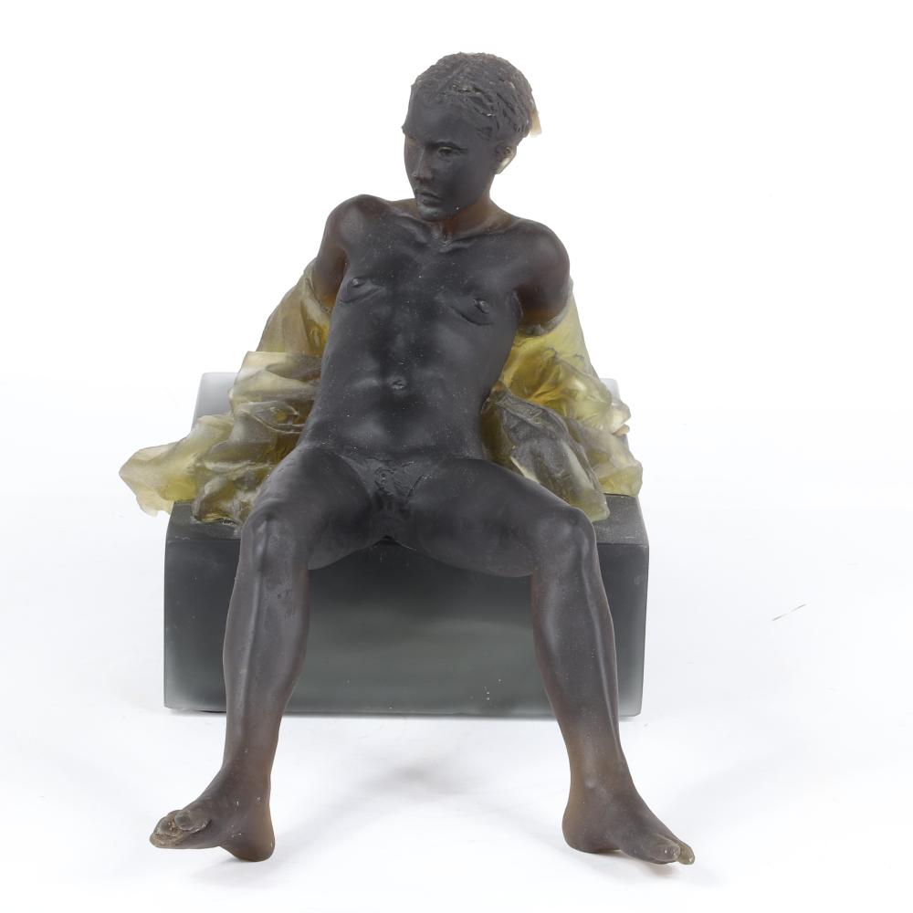"Nicolas Africano, (American, b.1948), Untitled 2007, Reclining Female Nude, cast glass (black), 13""H x 26""W x 10 1/2""D."