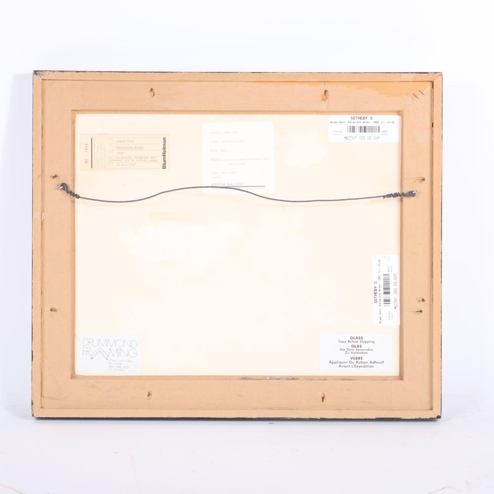"""Bryan Hunt, (American, b.1947), Barcelona Notes, 1985, oilstick, graphite, and linseed oil on Arches paper, 12""""H x 16""""W(image) 19""""H x 23""""W(frame)"""