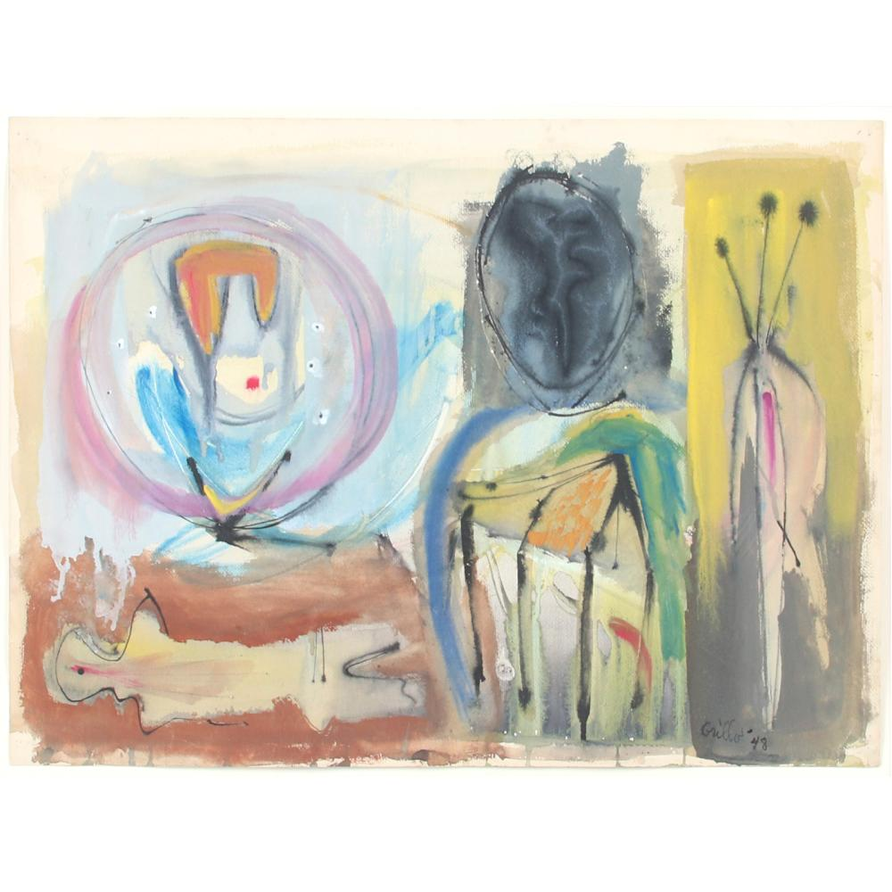 "John Grillo, (American, 1917- 2014), Untitled, 1948, watercolor on paper, 18""H x 24""W (image) 26""H x 32""W(frame)"