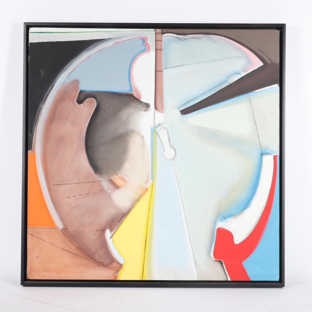 "Stephen Greene, (American, 1917-1999), Circular Image, 1969, oil on canvas, 30""H x 30""W (image) 32""H x 32""W (frame)"