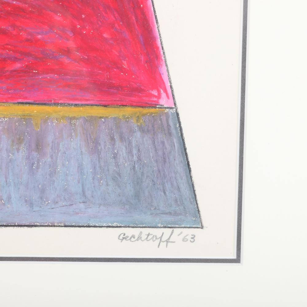 "Sonia Gechtoff, (American, 1926-2018), Small Icon, 1963, craypas crayon and pencil on paper, 18 1/2""H x 15""W (image) 27 1/2""H x 24"" (frame)"