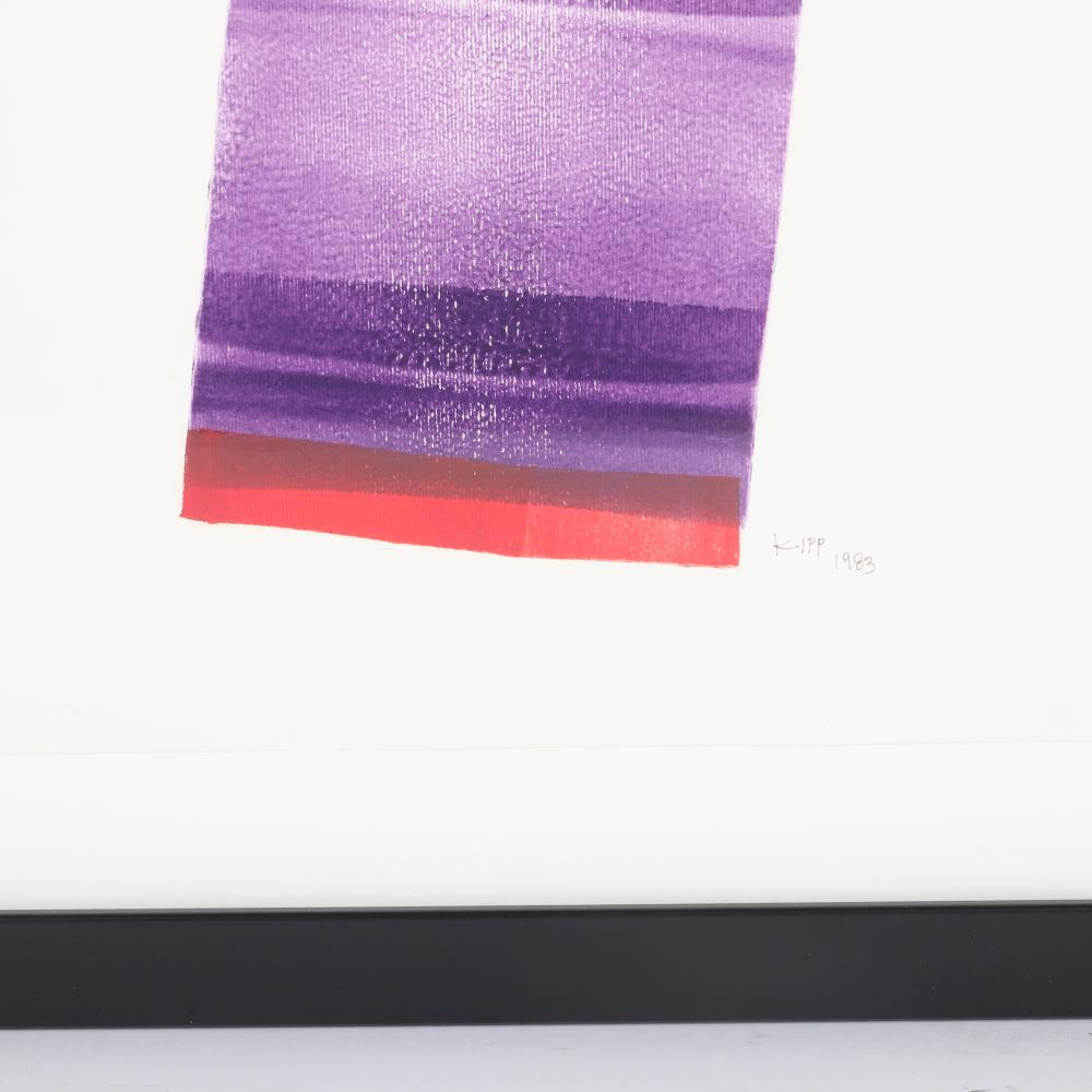 "Lymann Kipp, (American, 1929-2014), Untitled, 1983, roller ink on paper, 13"" x 10""H (image) 19""H x 23""W (frame)"