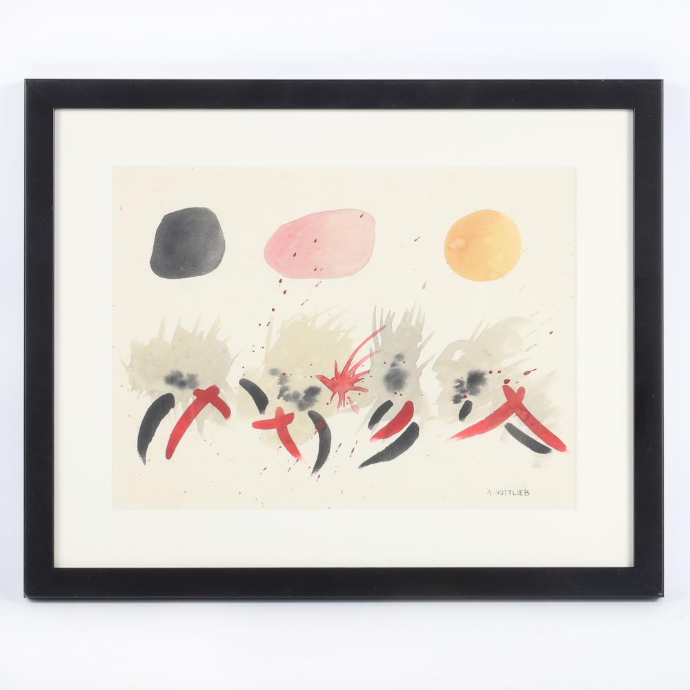 """Adolph Gottlieb, (American, 1903-1974), Untitled, watercolor on paper, 9 1/4"""" H x 12 1/2""""W(image) 14""""H x 17""""W (frame)"""