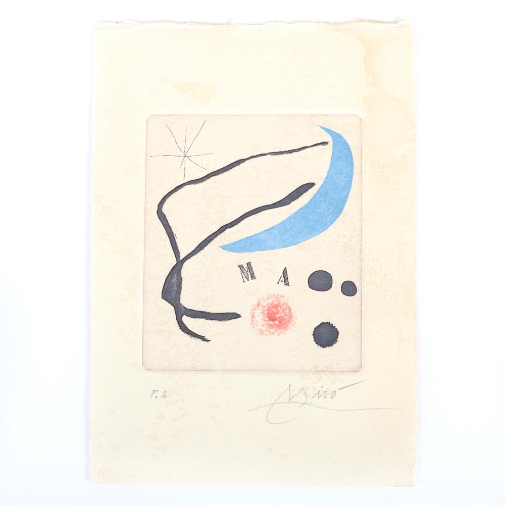 """Joan Miro, (1893-1983), color etching and aquatint with drypoint and carborundum,, 4 3/4""""H x 4""""W (image) 8 1/2"""" x 6"""" (sheet)"""