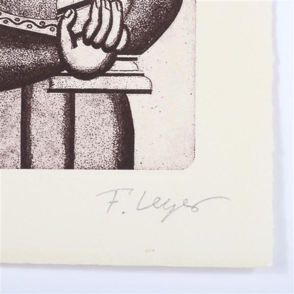 "Fernand Leger, (French, 1881-1955), Femme a la Cruche, etching, 6""H x 4""W (plate), 8 1/4""H x 6""W (paper)"