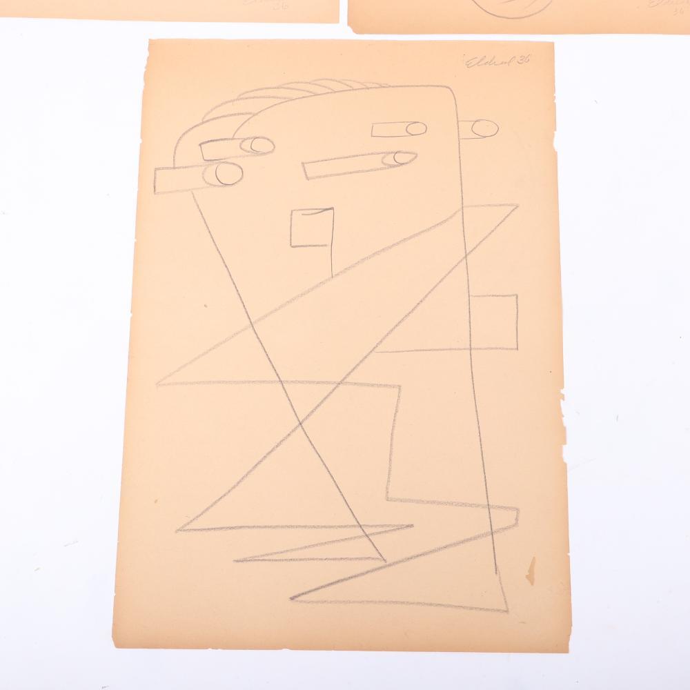 "Thomas Eldred, (New York / Michigan) (1903-1993), THREE surrealist drawings, 1936, pencil on paper, 17 1/2""H x 12""W (one- paper)"