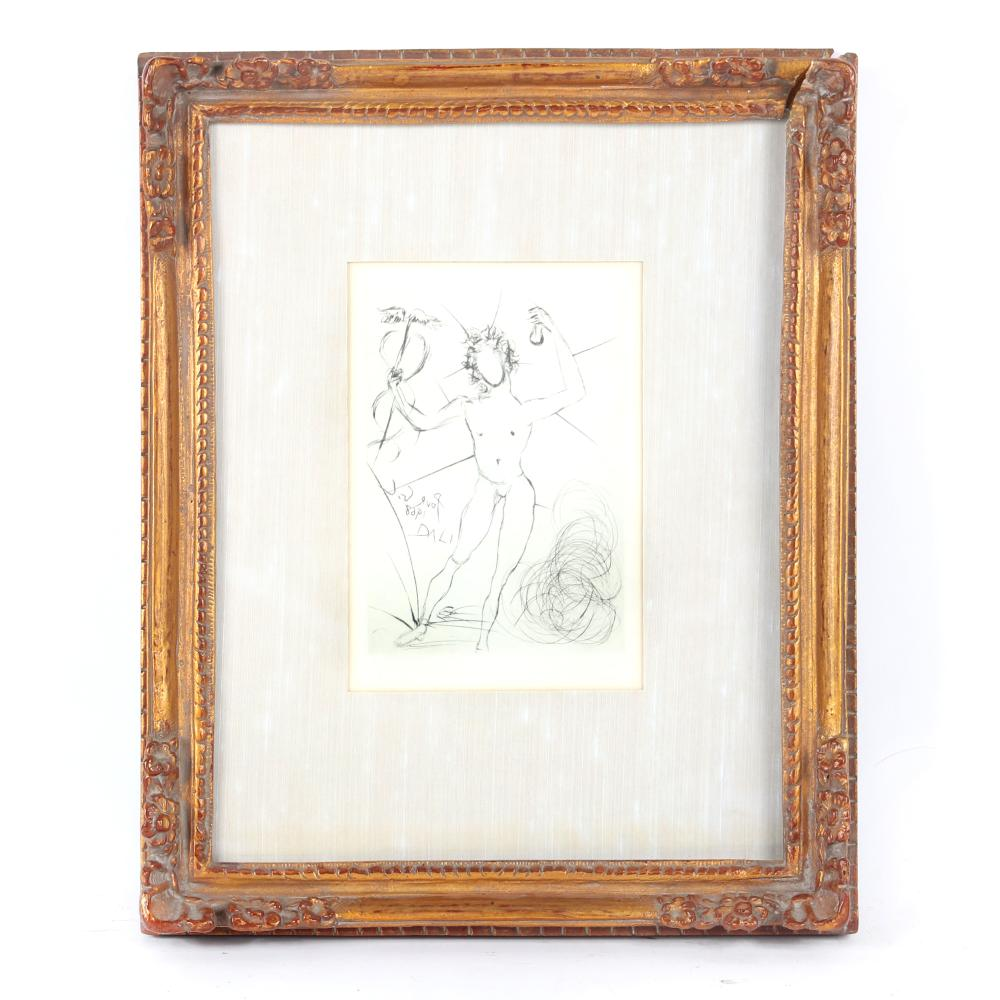 "Salvador Dali, Spanish 1904 - 1989, Mercury, etching, 7""H x 5""W (image), 16 1/2""H x 13 1/4""W (frame)"
