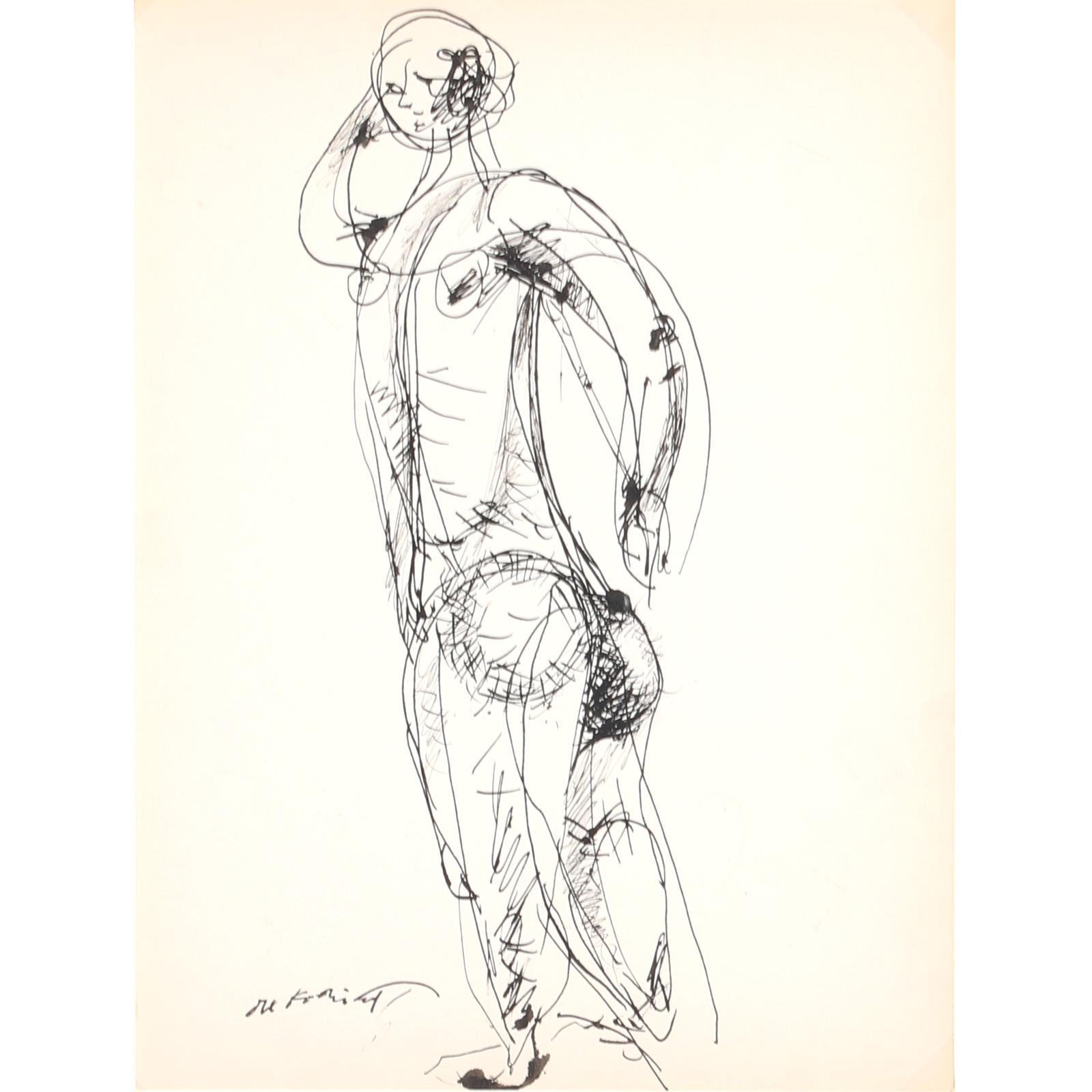 "Willem De Kooning, (Dutch, 1904 -1997), Untitled (standing nude), ca.1934, pen and ink on paper, 13""H x 10""W (image) 19""W x 15 3/4"" (frame)"