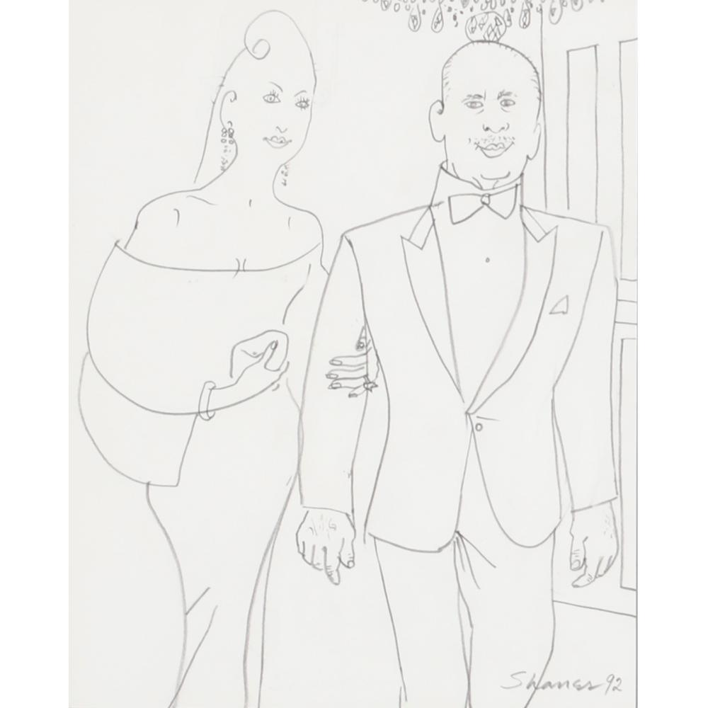 "Honore Desmond Sharrer, (American, 1920-2009), Untitled (couple in evening attire), 1992, graphite drawing on paper, 9""Hx12""W (image) 15 3/4""H x 14""W (frame)"